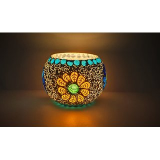 STARPARTH Glass Material Candle Mosaic Tea Light Holders