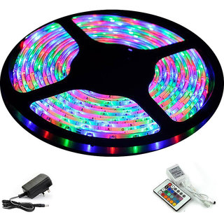 Ever Forever PVC Self Adhesive LED Strip Light (RGB) 5 Meter Roll with IR Controller, Remote AC/DC Adapter