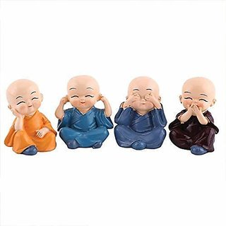 Home Artists Colourful 4 Baby Monks Figurines Set of 4