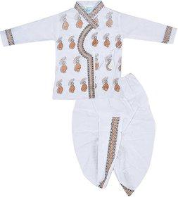 White Dhoti Kurta For Infant Boys by SBN