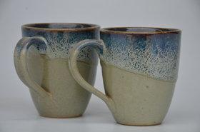 Mrid cera Studio pottery ceramic Tea /coffee mug set of 2(250 ml,  greenblue)