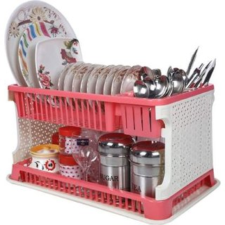 Lenovo Kitchen Organiser Rack Plastic with Water Collecting Tray (Pink)