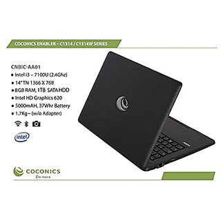 COCONICS Enabler C1314W  CNBIC AA01  Windows 10 Home  Intel Core i3  7100 U  2.4 Ghz , 14 inches 35.56 cm    TN 1366 x 768, 8  GB RAM/ 1 TB SATA HDD
