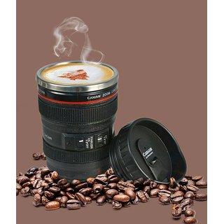 Collision Plastic Camera Lens Shaped Coffee Tea Cup Mug With 2 Lid