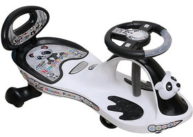OH BABY'' BABY PANDA MAGIC CAR WITH BLACK AND WHITE RIDE ON CAR WITH LIGHT AND MUSIC WITH BACK SUPPORT 80 KG WEIGHT CAPA