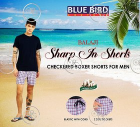 BALA JI (PACK OF 5) BLUE BIRD 100 Combed Cotton Checks Boxer Shorts for Men (Assorted Colors)