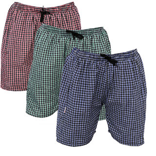 BMK Checkered Cotton Mix Boxer ShortsMulticolored Pack of 3