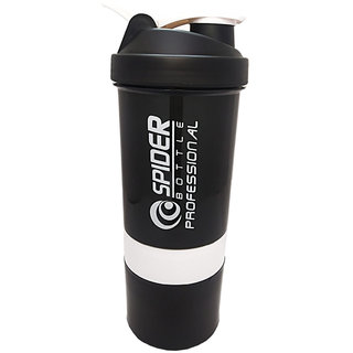True Indian 500 ml Spider Protein Shaker Bottle With 2 Storage compartment Cups