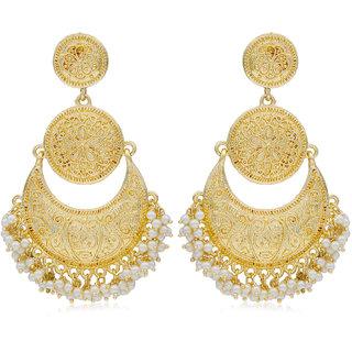 Sukkhi Glittery Gold Plated Pearl Chandelier Earring For Women