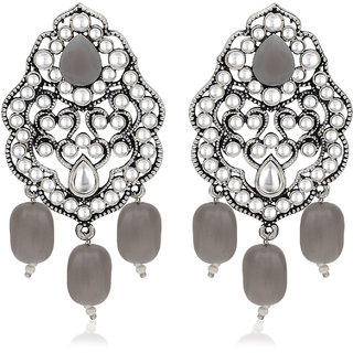 Sukkhi Glimmery Rhodium Plated Dangle Earring For Women