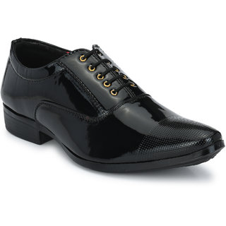 Valin Fox Men's Black Lace-up Derby Formal Shoes