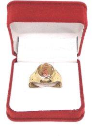 Ashtdhatu Trishakti Rudraksha Jadit Gold Plated Ring