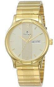Titan Karishma Round Gold Metal Strap Analog Watch For Men (NL1580YM05)