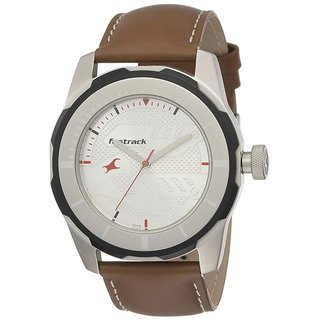 Fastrack 3099SL01 Elegant Brown Leather Strap Round Dial Watch For Men
