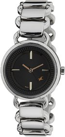 Fastrack Women Analog Black Round Dial Silver Metal Strap Watch - NM6117SM01 Ad