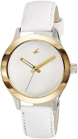 Fastrack Women Monochrome Analog White gold Dial Watch -NL6078SL02