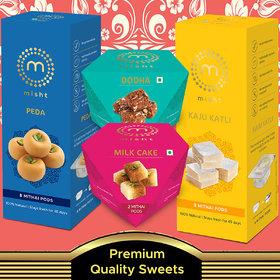Preservatives Free Assorted sweets ( Kaju Katli 210g  , Peda210g , Milk Cake 50g, dodha Burfi 50g  with Long Shelf Life.