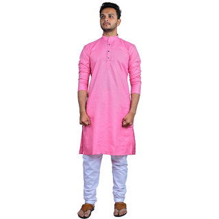Minimine Trends Men's Pink Long Cotton Kurta