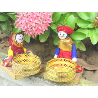 Traditional Men Women Papet Type Candle Tealight Holder for Navratri Diwali Gifts Return Gifts Home Decoration Set of 2