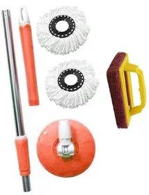 skylark Plastic Multicolour Mop, Rod Stick of Stainless Steel 1 rod 2 refill 1 tile brush