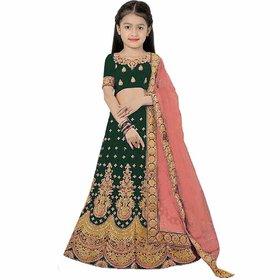 Femisha Creation Green Taffeta Satin Heavy Embroidered Kids Girls Traditional Semi Stitched Lehenga choli(3-15 Years )