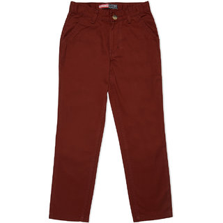 Lucky Blue Boy's Rust Cotton Dyed Twill Solid Trouser