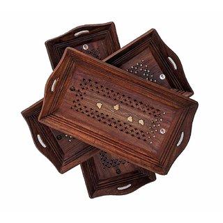 Pahadi Lala Sheesham Wood Crafts Wooden Coffee Serving Tray (Brown) Set of 3