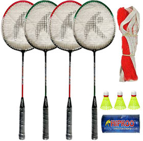 Hipkoo Sports Toofani Wide Body Rackets (Set Of 4)With 3 Shuttles and Net