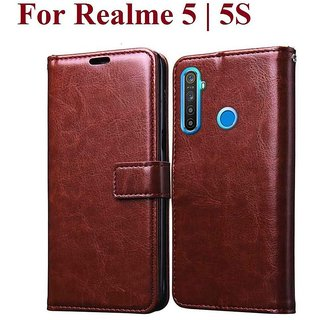 Real Me 5 Flip Cover by ClickAway - Brown Vintage Flip Cover (Color: Brown)