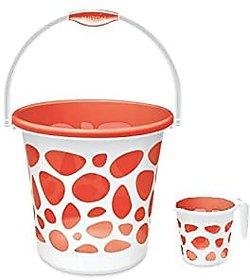 prima bathware MILTONS Plastic Bucket and Duplex Mug (18 L Orange)
