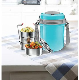 Milton Electron 4 Stainless Steel Tiffin Box Set 360Ml158Mm Set Of 4 (Assorted Colors)