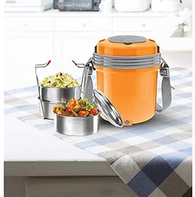Milton Electron 3 Stainless Steel Tiffin Box Set 360Ml158Mm Set Of 3 (Assorted Colors)