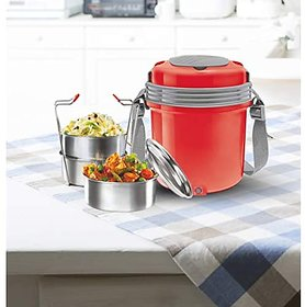 Milton Electron 3 Stainless Steel Tiffin Box Set 360Ml158Mm Set Of 3 - (Assorted Colors)