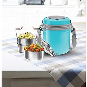 Milton Electron 3Stainless Steel Tiffin Box Set 360Ml158Mm Set Of 3 -(Assorted Colors)