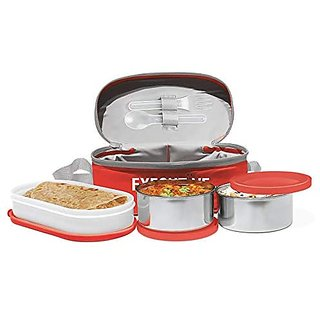 Milton Executive Lunch Insulated Tiffin With 3 Leakproof Containers Red