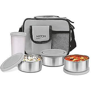 Milton Steel Combi Lunch Box With Tumbler 4-Pieces Grey