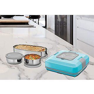 Milton Flatron Stainless Steel Electric Tiffin Box (Assorted Colors)