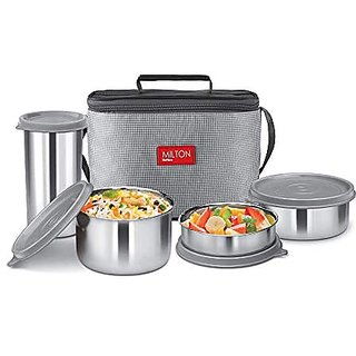 Milton Delicious Combo Steel Insulated Tiffin Set Of 4 Grey