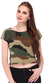 eDESIRE Women's Pure Cotton Camouflage Military Army Print Crop Tshirt Top, Free Size (28 to 34 Inch)