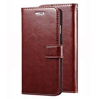 Samsung C9 Pro Flip Cover by ClickAway - Brown Original Vintage Wallet Flip Case with Kickstand (Color: Brown)