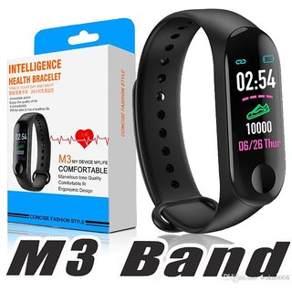 Indo Digital M3 Fitness Band and Activity Tracker Smartwatch with Water and Scratch Proof Touch Display Screen, Medium