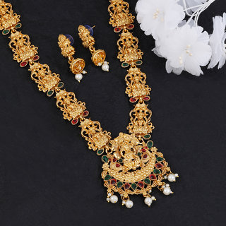 Silver Shine Gold Plated Traditional Designer Temple Long  Jewellery Set For Women Girl