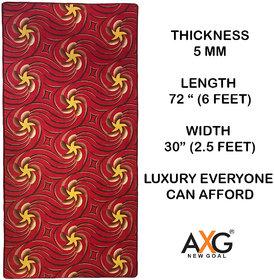 AXG New Goal Printed Anti Skid Multi Use Yoga Mat (6 x 2.5 ft) RED FLOWER