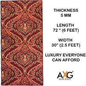 AXG New Goal Printed Anti Skid Multi Use Yoga Mat (6 x 2.5 ft) MAROON PATTERN