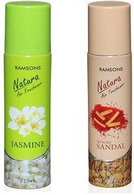 RAMSONS 1 Jasmine and 1 Mysore Sandal Air Freshener 250 ml each. (Pack of 2)