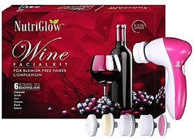 NUTRIGLOW Wine Facial Kit for blemish free fairer complexion with 5 in 1 Rotating Face Massager