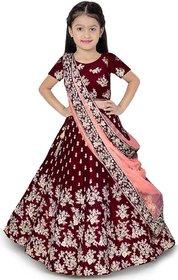 Femisha creation Maroon Taffeta Satin embroidered design girls wedding Wear Lehenga choli(It's 3-15 Years Girls)