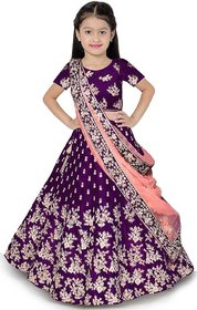 Femisha creation Purple embroidered Kids Girls Traditional Semi Stitched Lehenga choli (It's 3-15 Years Girls ) .