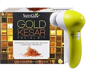 NUTRIGLOW Gold Kesar Facial Kit And Portable Face Massager (5 in 1)