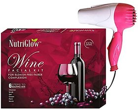 NutriGlow Wine Facial Kit with Hair Dryer